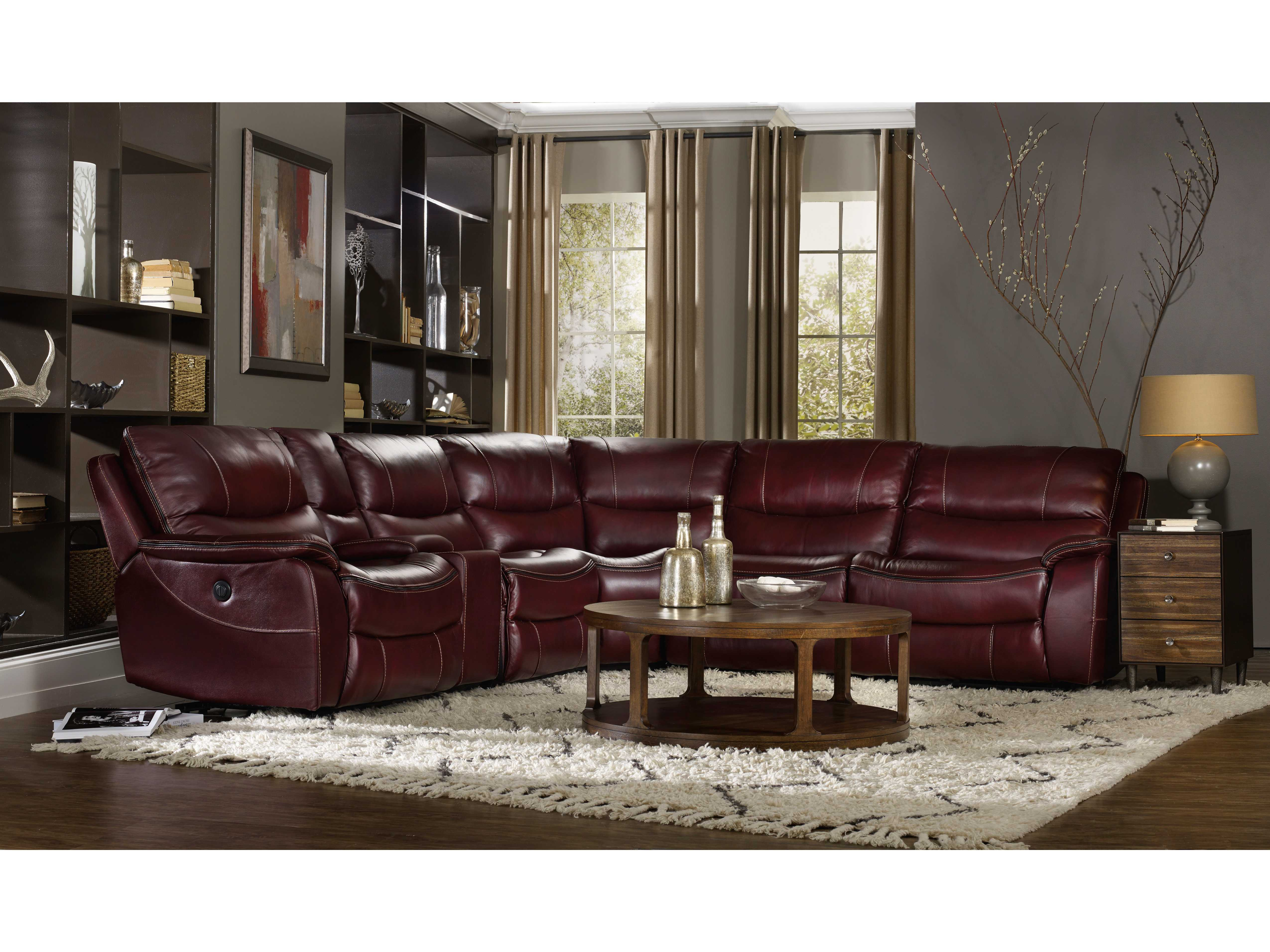 Hooker Furniture Red Wine with Black Trim 6 Piece Power Sectional