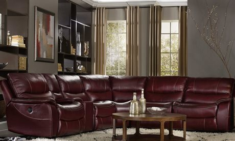 Hooker Furniture Red Wine with Black Trim 6 Piece Power Sectional Sofa