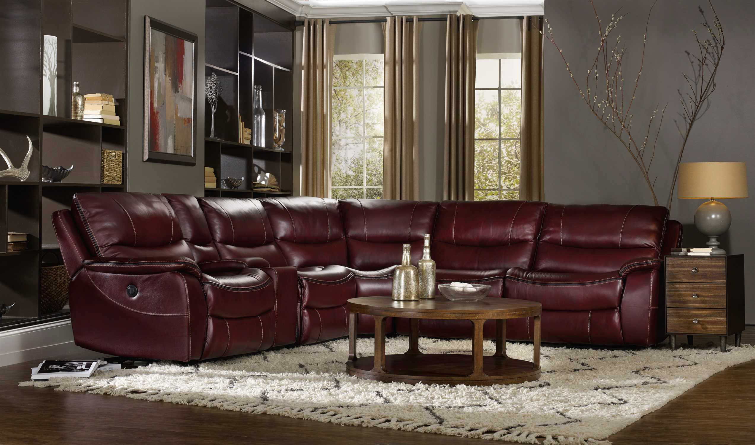 Hooker furniture red wine with black trim living room set for Black living room furniture sets