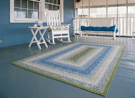 Homespice Decor Cotton Braided Seascape Green Area Rug