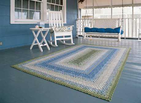 Homespice Decor Cotton Braided Seascape Green Area Rug