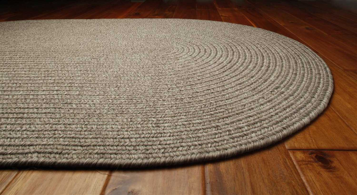 Homespice Decor Ultra Durable Braided Oval White Area Rug