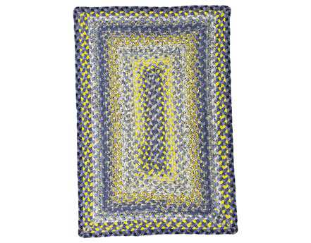 Homespice Decor Cotton Braided Sunflowers Blue Area Rug