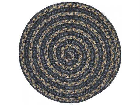 Homespice Decor Ultra Durable Swirl Braided Swirl Koala Black 3' Wide Round Area Rug