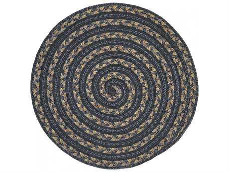 Homespice Decor Ultra Durable Swirl Braided Swirl Koala Black 3' Wide Round Area Rug