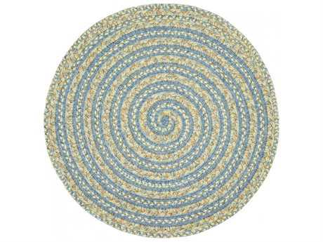 Homespice Decor Ultra Durable Swirl Braided Swirl Pacific Blue 3' Wide Round Area Rug