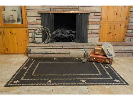 Homespice Decor Jute Braided Texas Black Rectangular Area Rug