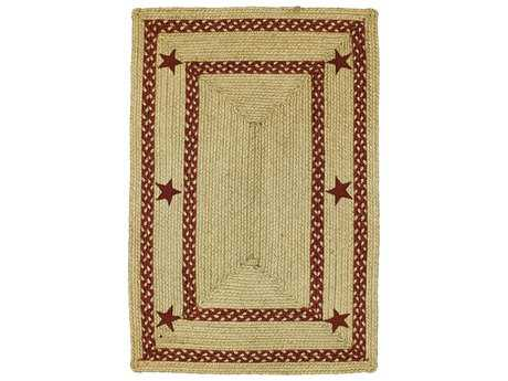 Homespice Decor Jute Braided Texas Red Beige Rectangular Area Rug