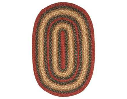 Homespice Decor Jute Braided Oval Red Area Rug