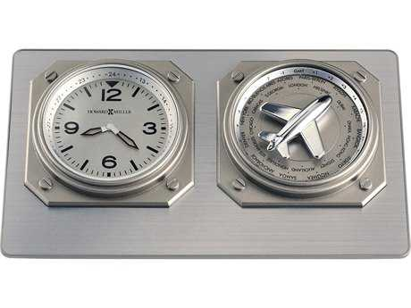 Howard Miller Aviatrix Titanium Clever World Time Clock