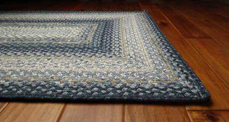 Homespice Decor Cotton Braided Rectangular Blue Area Rug