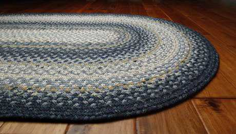 Homespice Decor Cotton Braided Oval Blue Area Rug