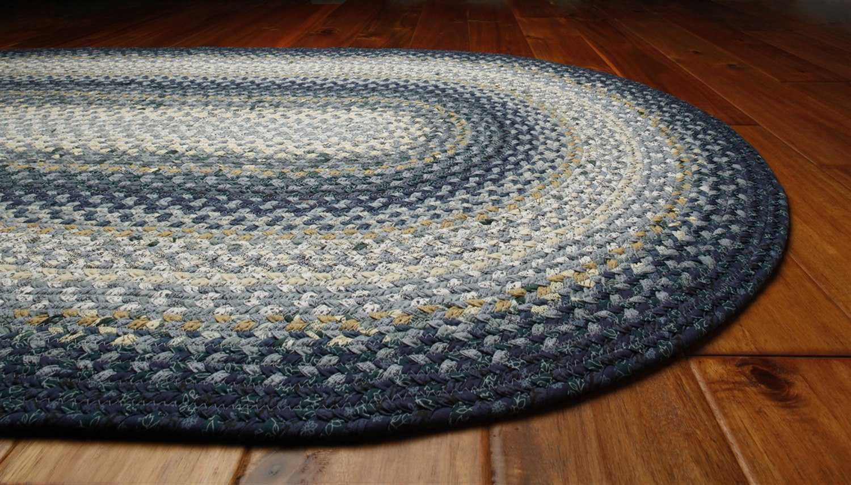 Homespice Decor Cotton Braided Oval Blue Area Rug | HOWEDGEWOODOVA