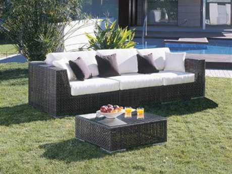 Hospitality Rattan Outdoor Soho Wicker Deep Seating Three Piece Lounge Set