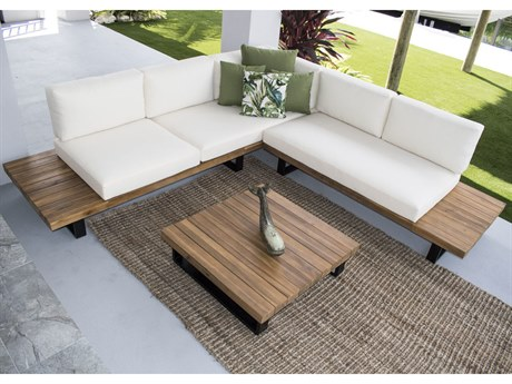 Hospitality Rattan Outdoor Norman's Cay Wood Piece Sectional Lounge Set