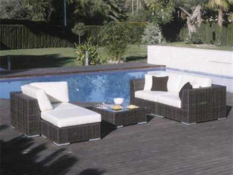 Hospitality Rattan Outdoor Soho Wicker Deep Seating Five Piece Sectional Lounge Set