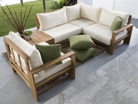Hospitality Rattan Outdoor Grand Cay Wood 5 Piece Modular Sectional Lounge Set