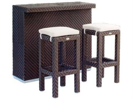Hospitality Rattan Outdoor Cava Aluminum Wicker 3 PC Bar Set