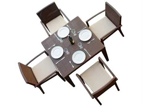 Hospitality Rattan Outdoor Cava Aluminum Wicker 5 PC Dining Group