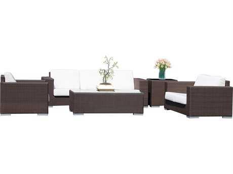 Hospitality Rattan Outdoor Cava Aluminum Wicker 5 PC Seating Group