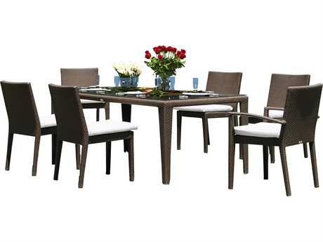 Hospitality Rattan Outdoor Cava Aluminum Wicker Cava 7 PC Dining Group