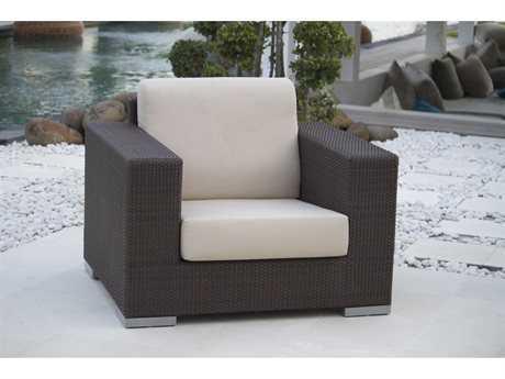 Hospitality Rattan Outdoor Cava Aluminum Wicker Armchair with Cushion
