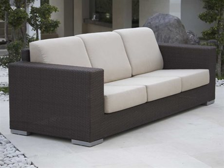 Hospitality Rattan Outdoor Cava Aluminum Wicker Sofa with Cushion