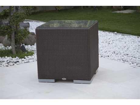Hospitality Rattan Outdoor Cava Aluminum Wicker 24 Square Side Table HP62005JCPP