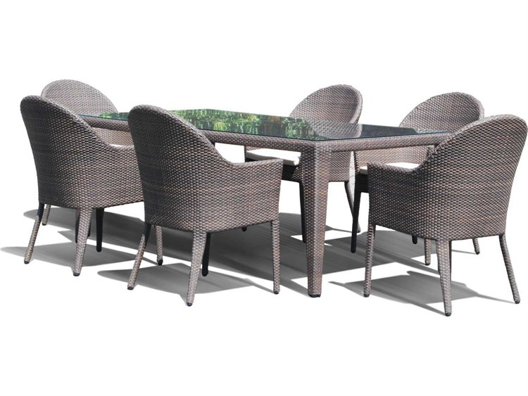 Charmant Hospitality Rattan Outdoor Kenya Aluminum Wicker 7PC Dining Group |  62021 7DT 5453