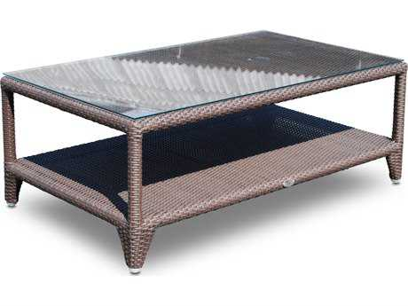 Hospitality Rattan Outdoor Kenya Aluminum Wicker 48 x 28 Rectangular Coffee Table