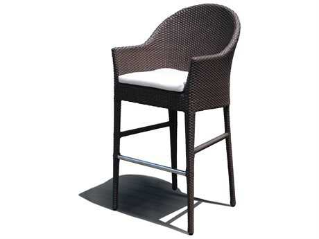 Hospitality Rattan Outdoor Kenya Aluminum Wicker Barstool with Cushion