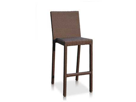 Hospitality Rattan Outdoor Sydney Aluminum Wicker Stackable Barstool with Cushion