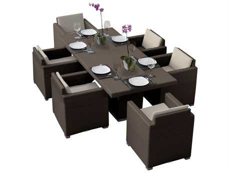 Hospitality Rattan Outdoor Sydney Aluminum Wicker 7 PC Dining Group
