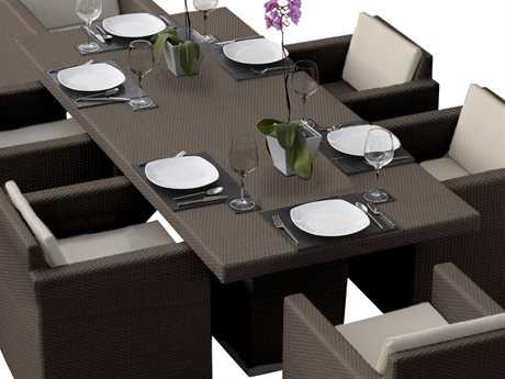 Hospitality Rattan Outdoor Sydney Aluminum Wicker 87 x 39 Rectangular Dining Table