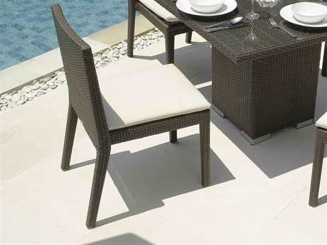 Hospitality Rattan Outdoor Cava Aluminum Wicker Dining Chair with Cushion