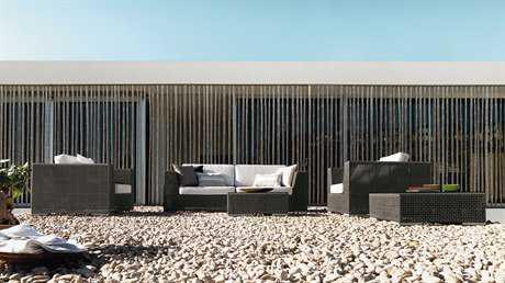 Hospitality Rattan Outdoor Soho Wicker Deep Seating Six Piece Sectional Lounge Set