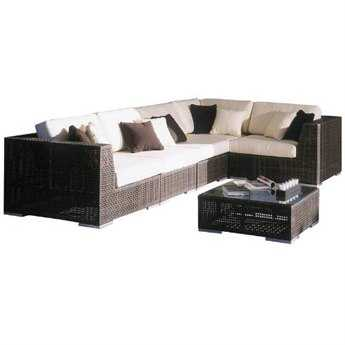 Hospitality Rattan Outdoor Soho Wicker Deep Seating  Six Piece Sectional Lounge Set