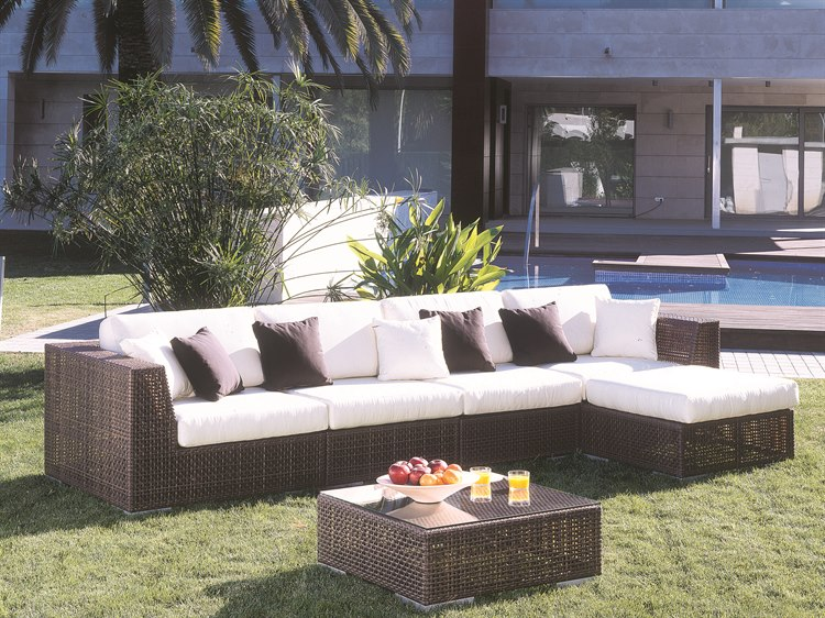Ordinaire Hospitality Rattan Outdoor Soho Wicker Deep Seating Six Piece Sectional  Lounge Set | 6 PC SET 903 S