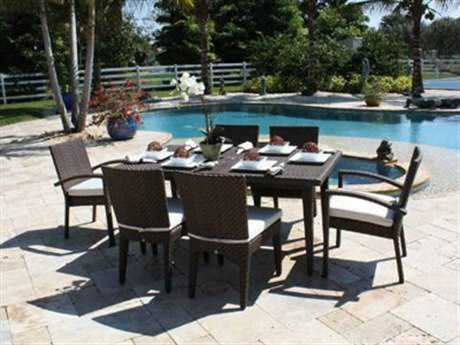 Hospitality Rattan Outdoor Soho Wicker Seven Piece Dining Set