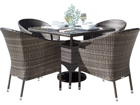 Hospitality Rattan Outdoor Ultra Grey Woven 5 Piece Dining Set with Cushions