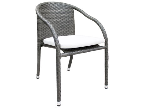 Hospitality Rattan Outdoor Ultra Grey Woven Stackable Dining Arm Chair PatioLiving
