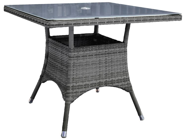 Hospitality Rattan Outdoor Ultra Grey Woven 36wide Square Grey Glass Top Dining Table Hp8901399grysq