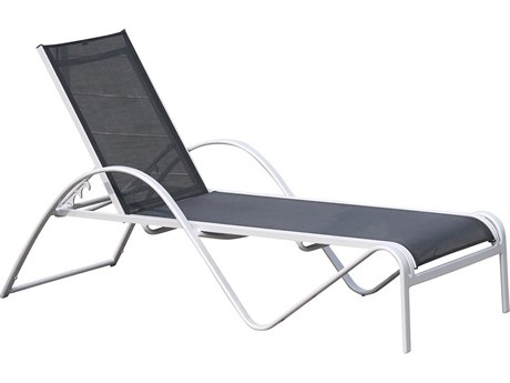 Hospitality Rattan Outdoor Ultra Grey Aluminum Chaise Lounge