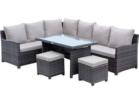 Hospitality Rattan Outdoor Ultra Grey Woven 5 Piece Sectional Lounge Set with Cushions PatioLiving