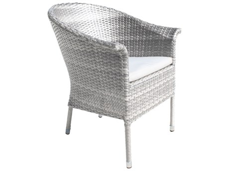 Hospitality Rattan Outdoor Athens Whitewash Woven Dining Arm Chair PatioLiving