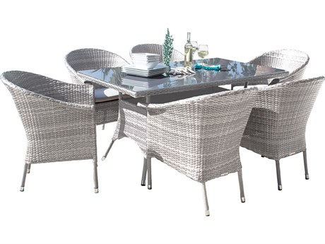 Hospitality Rattan Outdoor Athens Whitewash Woven 7 Piece Dining Set with Cushions