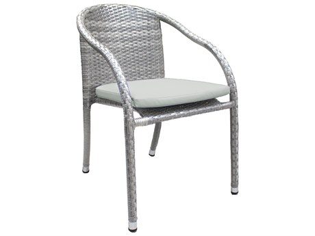 Hospitality Rattan Outdoor Athens Whitewash Woven Stackable Dining Arm Chair PatioLiving