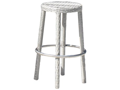 Hospitality Rattan Outdoor Athens Whitewash Woven Round Stackable Bar Stool HP8952166WWBS