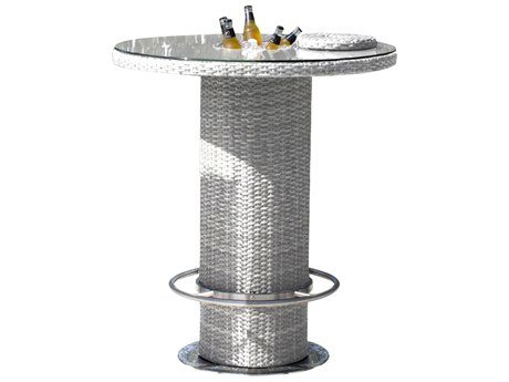 Hospitality Rattan Outdoor Athens Whitewash Woven 40Wide Round Glass Top Bar Table with Ice Bucket HP8952166WWPT