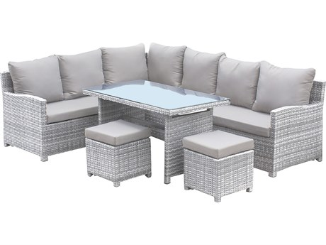 Hospitality Rattan Outdoor Athens Whitewash Woven 5 Piece Sectional Lounge Set PatioLiving